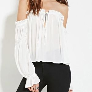 F21 Off The Shoulder Top - White (XS)